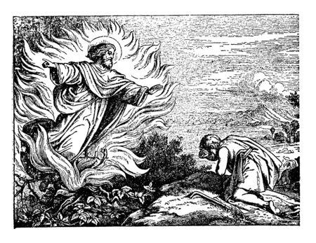 En este marco, cuando un hombre va al bosque, sentado allí, ve al ángel del cielo. Es recibido por sus ojos humildes y se lleva su Darshan, dibujo de línea vintage o ilustración de grabado. Ilustración de vector