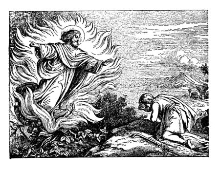 In this frame, when a man goes to the forest, sitting there, he sees the angel from the sky. He is greeted by his humble eyes and taken his Darshan, vintage line drawing or engraving illustration.