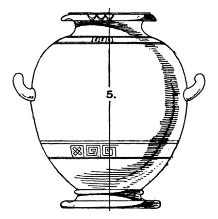 Greek Urn have a significance from the point of view of funerals, vintage line drawing or engraving.
