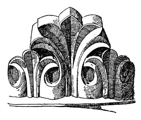 Romanesque Leaf have very antique pattern leaves, vintage line drawing or engraving illustration.