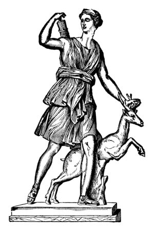 This is Dianas idol. There is a deer on her side and a bow arrow on the back, vintage line drawing or engraving illustration. Illustration