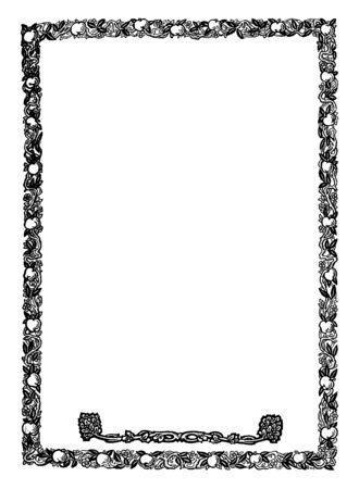 Fruit and Vine Border is an narrow border, vintage line drawing or engraving illustration.  イラスト・ベクター素材