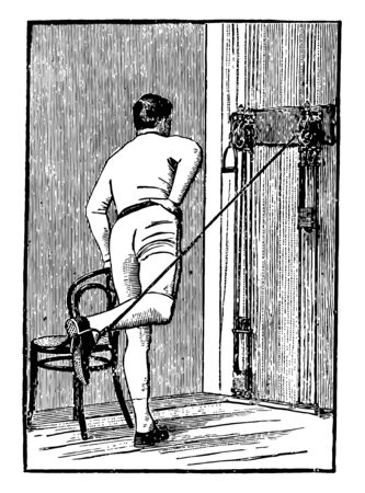 A man is exercising with chest weights. In this position, he keep his right hand on waist & extends his one leg backside & repeat it again, vintage line drawing or engraving illustration.