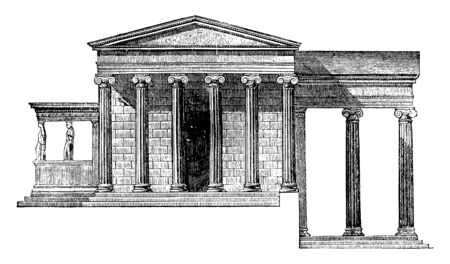 Erechtheum with the Pandrosium, Belonging to the time directly, a double temple, the Ionic style,  dedicated to Minerva Polias, situated on the Acropolis, vintage line drawing or engraving illustration.