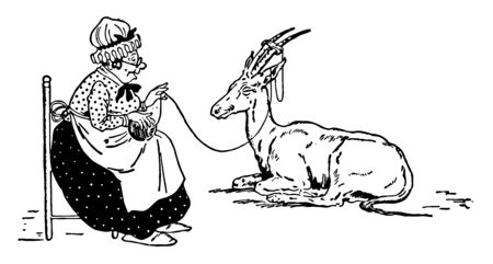 Animal Alphabet B, Bajjerkeit, an old woman sitting on chair, and Bajjerkit animal sitting on ground next to her, She holding rope in hands which is tied to his horns , vintage line drawing or engravi 일러스트