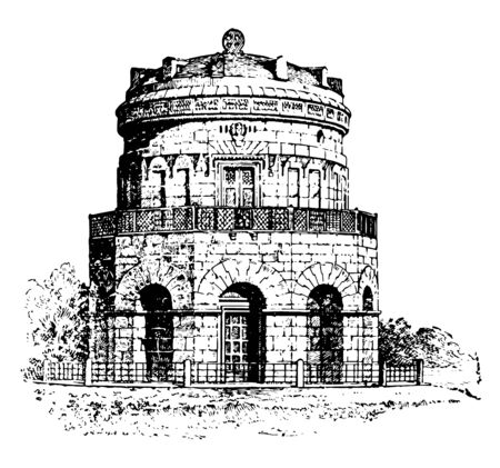 Dome, Middle, Ages, medieval, architecture, vintage line drawing or engraving illustration.