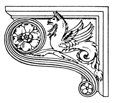 Renaissance Console is shown in its side view, broadly sweeping curve flanked by pairs of legs, vintage line drawing or engraving illustration.