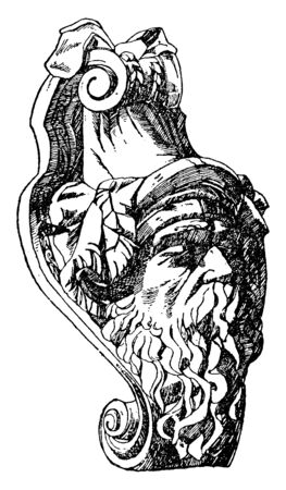Dying Warrior Mask was designed by Schluter for the Berlin arsenal in 1697, vintage line drawing or engraving illustration.