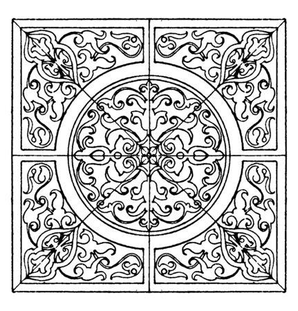 El panel cuadrado renacentista es un diseño alemán moderno, está hecho en intarsia, dibujo de línea vintage o ilustración de grabado.