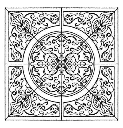 Renaissance Square Panel is a modern German design, it is done in intarsia, vintage line drawing or engraving illustration.