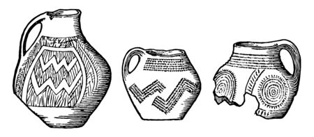 Neolithic Age Pottery from lake dwelling, it is Not drawn to scale, vintage line drawing or engraving illustration. Illusztráció