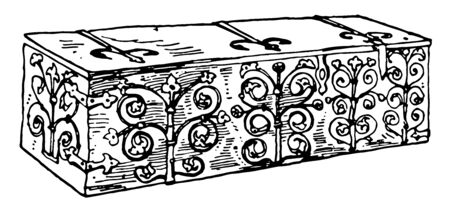 Medieval chest is rectangular box without feet , has engraving over the walls of the chest, fitted with iron mounts, vintage line drawing or engraving illustration Illustration