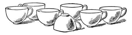 This card shows seven cups, Six cups are properly placed while one cup is placed reverse. All cups have handle to hold them properly, Vintage line drawing or engraving illustration.