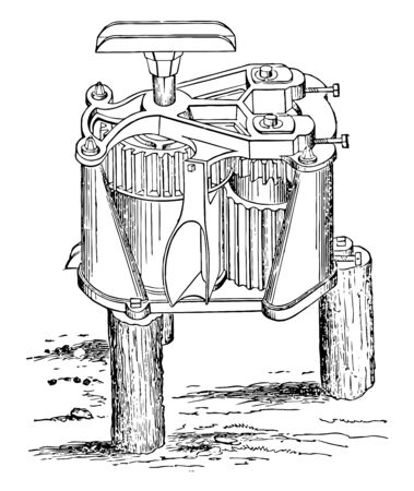 This illustration represents Vertical Cane Mill which is used for multipurpose handling, vintage line drawing or engraving illustration. Foto de archivo - 132980230