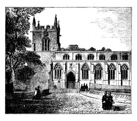 Bangor Cathedral, Caernarvonshire, Abbey, anglo saxon cathedral church, chapel, Christian, minster, parish, place of worship, vintage line drawing or engraving illustration.