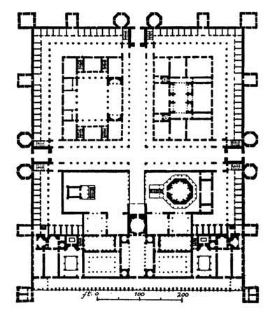 Palace of Diocletian, Plan, Dioklecijanova palaca in Croatian, a building in Split, built by the emperor Diocletian, vintage line drawing or engraving illustration.