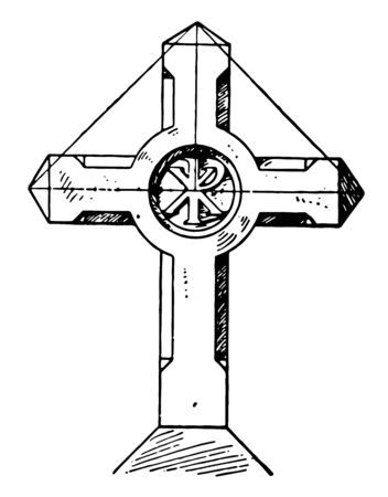 This is a photo of cross sign on which there are a few photos of the Lord Jesus. These photos are of that time when he was alive three days after his demise, vintage line drawing or engraving illustration. Ilustração