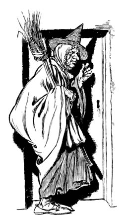 Old Woman, this picture shows an old woman knocking door and carrying a broom in hand, vintage line drawing or engraving illustration Standard-Bild - 132981974