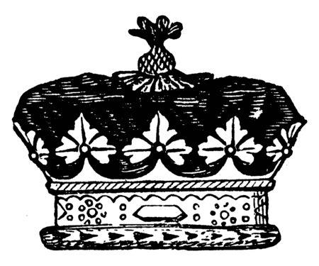 Coronet of an English Duke, vintage line drawing or engraving illustration.