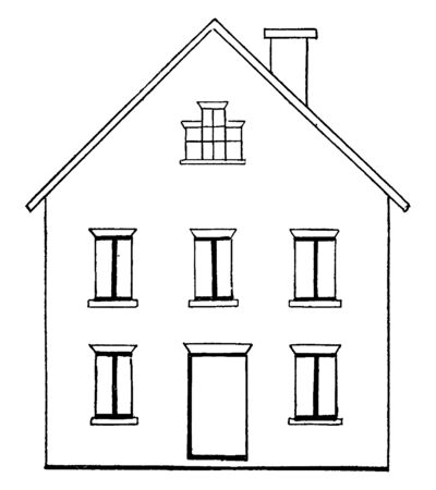 Drawing a House 1 is the first step, its construction specifications of a residential consists dimensions and materials layouts, vintage line drawing or engraving illustration. Illustration