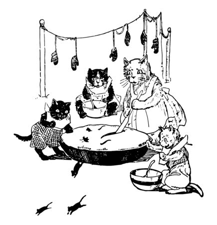 A mother cat is cooking in pot and three kittens eating from their bowls, mittens hanged on rope, mice running away from pot,  vintage line drawing or engraving illustration