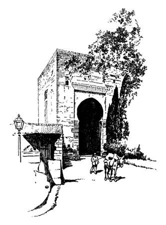 The Tower of Justice, man, palace, Spain, walking, Yusuf I, vintage line drawing or engraving illustration Ilustrace