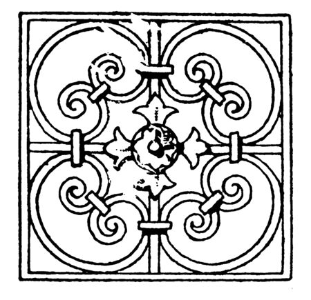 Wrought-Iron Square Panel is a French 17th century design, vintage line drawing or engraving illustration.