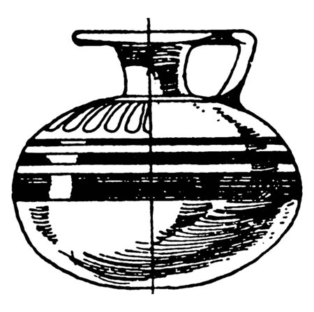 Greek Aryballos is a small spherical shape with a narrow neck, It is used as a perfume vase, vintage line drawing or engraving illustration.