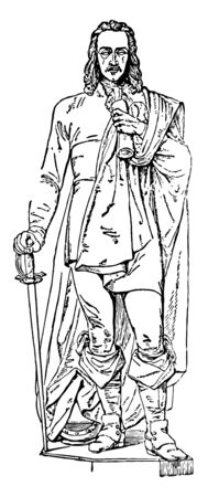 John Hampden Sculpture is an English politician, vintage line drawing or engraving illustration.