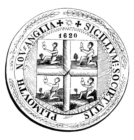 An old colony seal of New Plymouth, it is in circle shape, inside it divide into four, and each section looks like men sitting on his left leg,  on top 1620 year is mentioned, vintage line drawing or engraving illustration