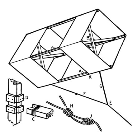 A type of box kite, vintage line drawing or engraving illustration.