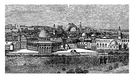 A view of the city of Jerusalem, vintage line drawing or engraving illustration.