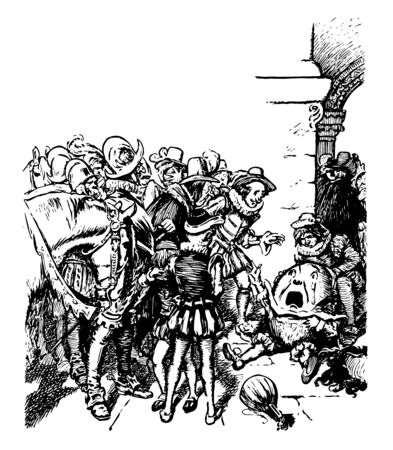 Humpty Dumpty, this scene shows an egg with legs and hands fell down on ground and crying, people standing around egg, vintage line drawing or engraving illustration