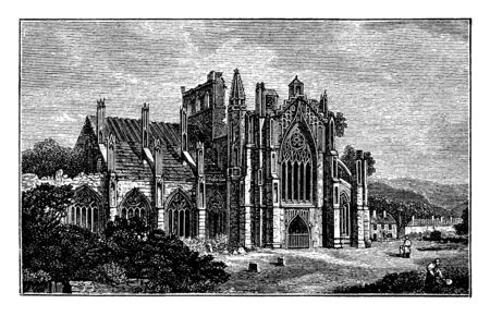 Melrose Abbey Ruins, a Gothic-style abbey in Melrose, request of King David,  badly damaged the Abbey, vintage line drawing or engraving illustration. Фото со стока - 133404631