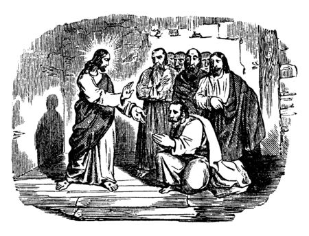 An illustration of Jesus shows his wounds to the disciples. One disciple is bowing, while six others remain behind him, vintage line drawing or engraving illustration.