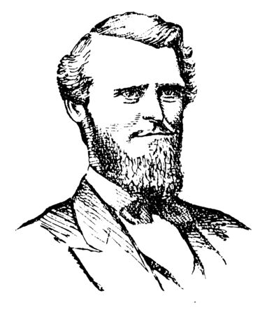 Arthur J. Boreman, 1823-1896, he was an American lawyer, politician, first governor of West Virginia, and circuit judge, vintage line drawing or engraving illustration