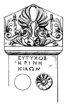 Stele-Crest is a Greek tomb-tone, vintage line drawing or engraving illustration. Standard-Bild - 132982051