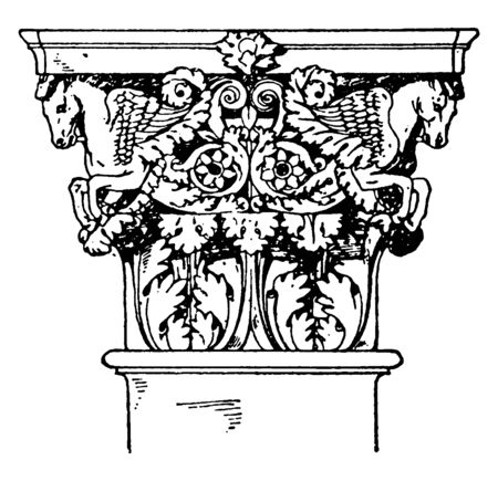 Roman-Corinthian Pilaster Capital, a leaf and floral design,  it volutes with a spiral scroll, like ornaments on the sides, the temple of Mars in Rome, vintage line drawing or engraving illustration. Stock Illustratie
