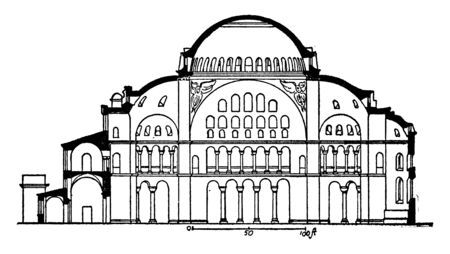 Section of Hagia Sophia or  former patriarchal basilica, later a mosque, museum in Istanbul, Turkey,  massive dome, Byzantine architecture, largest cathedral, vintage line drawing or engraving illustration.
