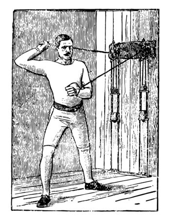 A man working on his chest by pulling weights tied on machine from both arms. In this exercise, he is standing in between two weights; right arm is behind his head and left is near his stomach, vintage line drawing or engraving illustration. Illustration