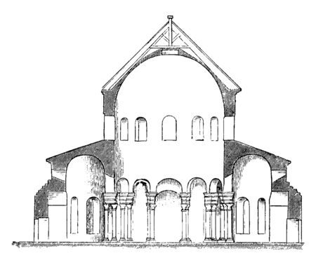 Santa Costanza, Section of the Church of S. Constantia at Rome, simplest descriptions of this kind of building,  Sometimes they were without this passage, vintage line drawing or engraving illustration.