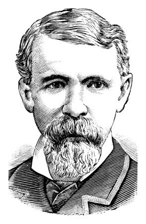 Russell A. Alger, 1836-1907, he was United States senator from Michigan and 20th governor of Michigan, vintage line drawing or engraving illustration Illustration