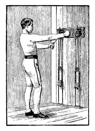 A man is doing chest exercise and pulling weights. He is using both arms for pulling weights, vintage line drawing or engraving illustration. Illustration