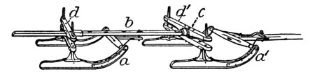 Picture showing different parts of Bobsled like four runner sled, steering pulley, steering axe, brake etc., vintage line drawing or engraving illustration. Çizim