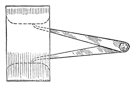 Inside Caliper to measure hollow objects or internal holes, distance between two opposite sides of an object, vintage line drawing or engraving illustration.