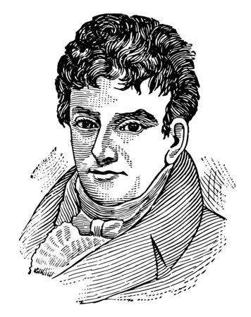 Robert Fulton, 1765-1815, fue un ingeniero e inventor estadounidense, famoso por desarrollar el primer barco de vapor comercialmente exitoso llamado The North River Steamboat of Claremont, línea vintage de dibujo o ilustración de grabado