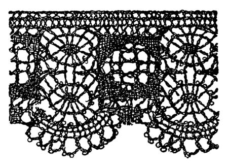 Modern Pillow Lace Border  is a form of textile art, that has a combination of the conventional treatment and delicate hand-work, vintage line drawing or engraving illustration.