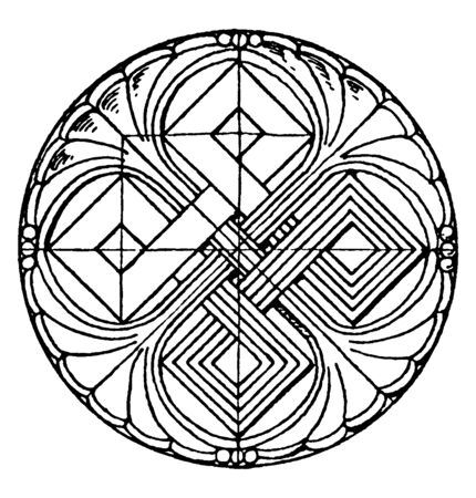 Romanesque Circular Panel is found in Basel, vintage line drawing or engraving illustration. Çizim
