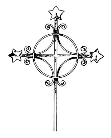 A cross is consisting of two intersecting lines usually run vertically and horizontally looks like a Fan, vintage line drawing or engraving illustration. Standard-Bild - 132981990