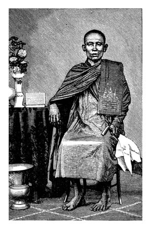 He is looking like a Buddhism priest, vintage line drawing or engraving illustration.